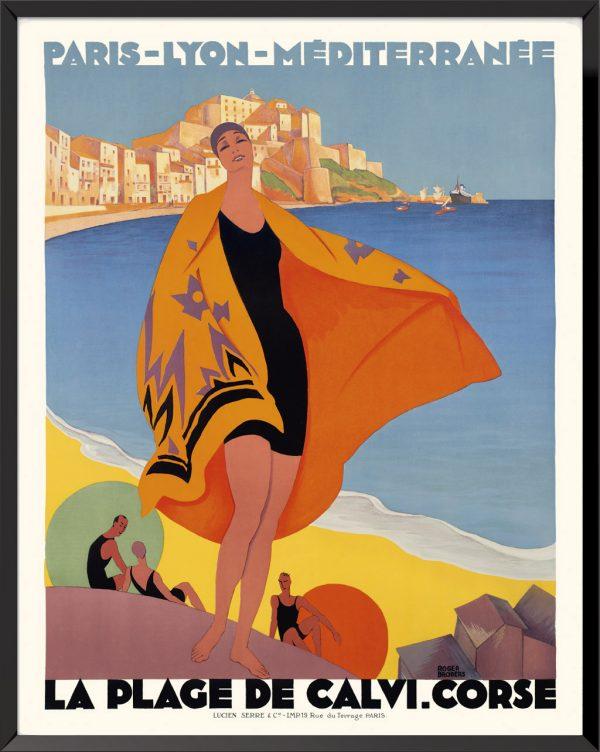 Affiche La plage de Calvi Corse de Roger Broders