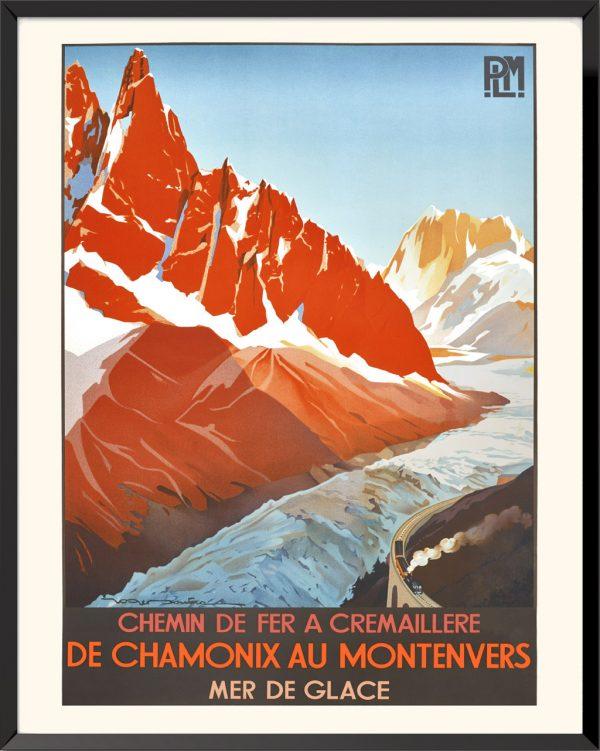 Affiche Chemin de fer Chamonix de Montenvers de Roger Broders