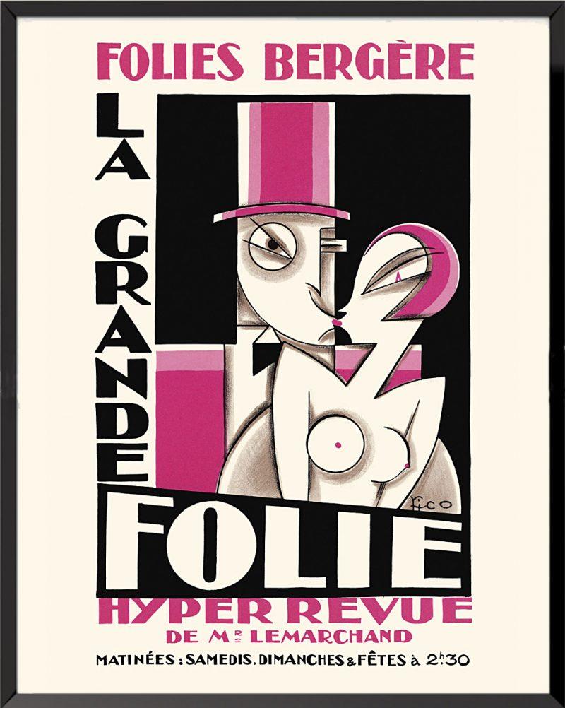 Affiche La grande folie, Folies bergères de Maurice (Pico) Picaud