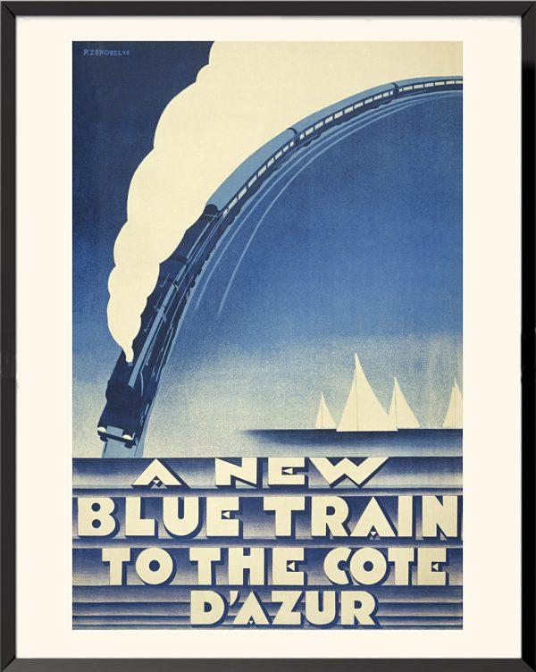 Affiche The New Blue Train to the Côte d'Azur de Pierre Zenobel