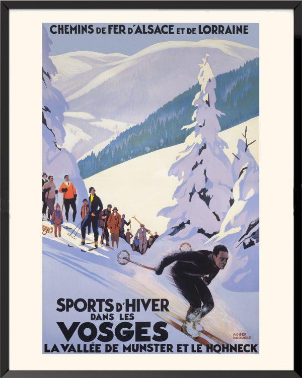 Affiche Sports d'hiver dans les Vosges de Roger Broders