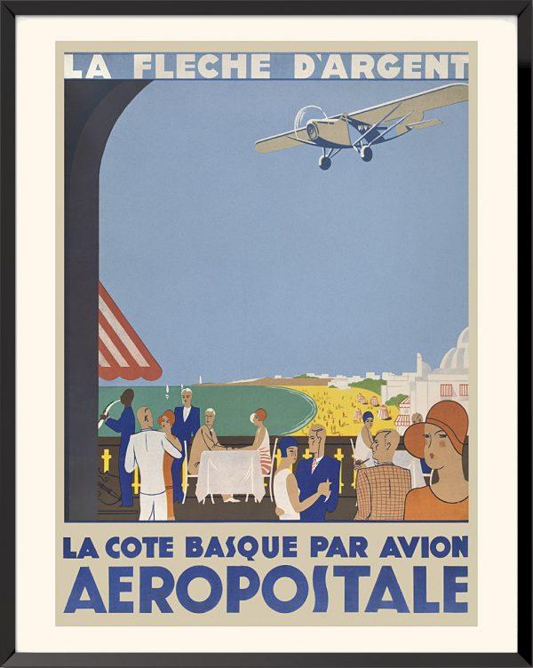 Affiche Aéropostale, la côte basque par avion, 1930