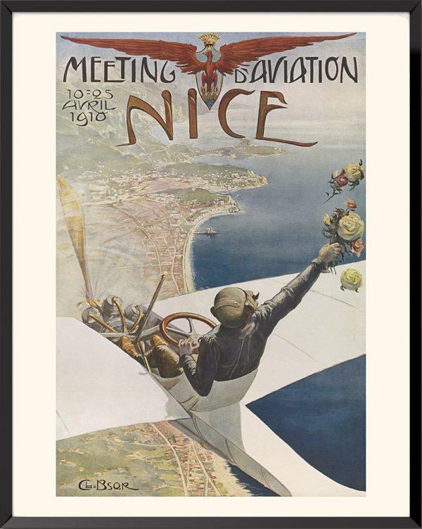 Affiche Meeting d'aviation de Nice de Bsor (Charles Léonce Brossé)