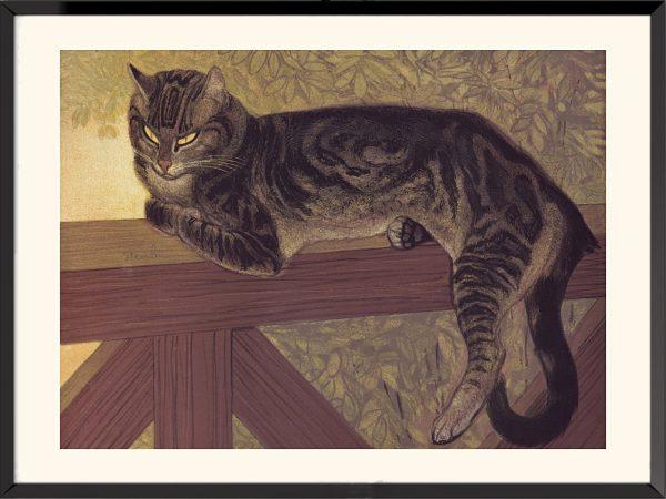 Illustration L'Été, chat sur une balustrade de Théophile-Alexandre Steinlen