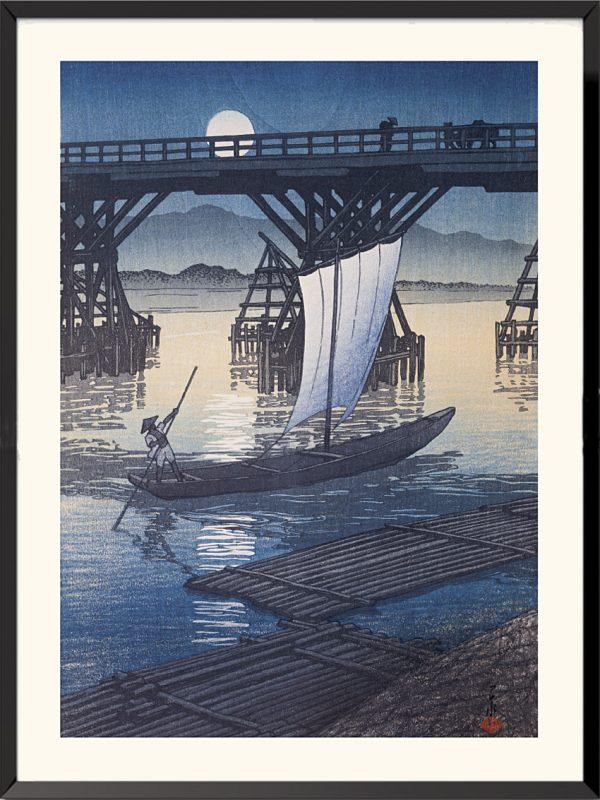 Estampe Le Pont d'Asahi à Ojiya de Hasui Kawase