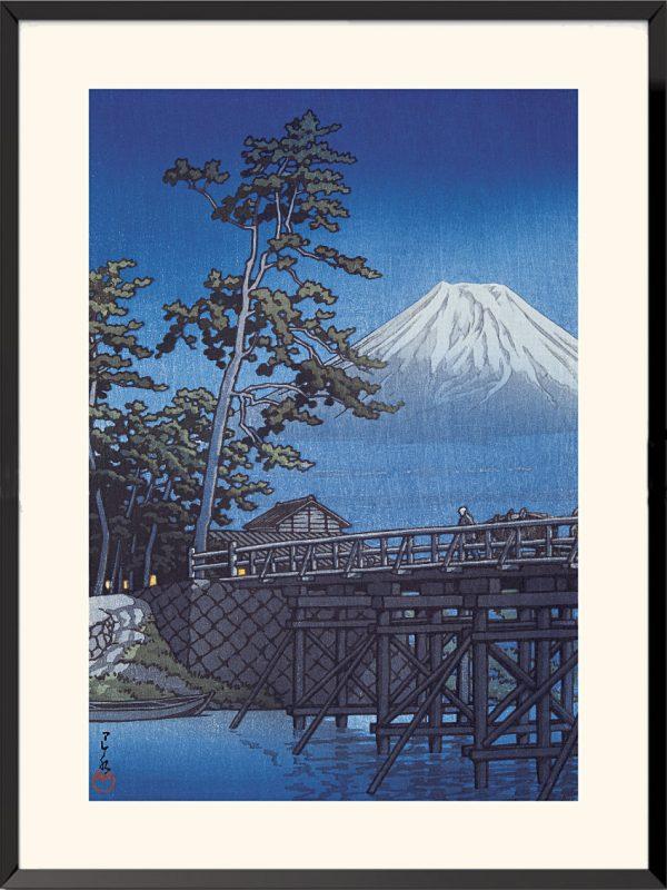 Le mont Fuji au clair de lune, pont Kawai de Kawase Hasui