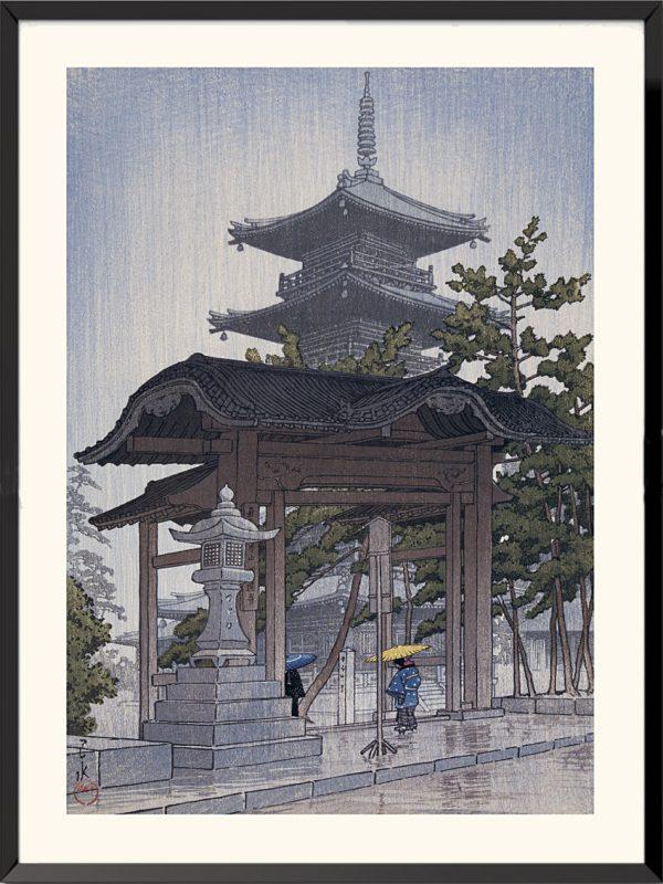 Estampe Le Temple du Zentsuji à Sanshu de Kawase Hasui