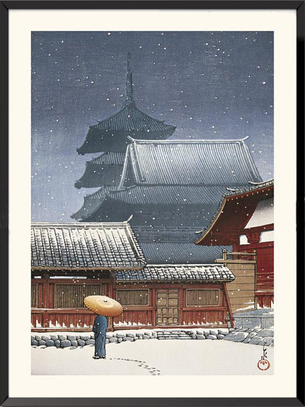 Estampe Le Temple Tennoji à Osaka de Kawase Hasui