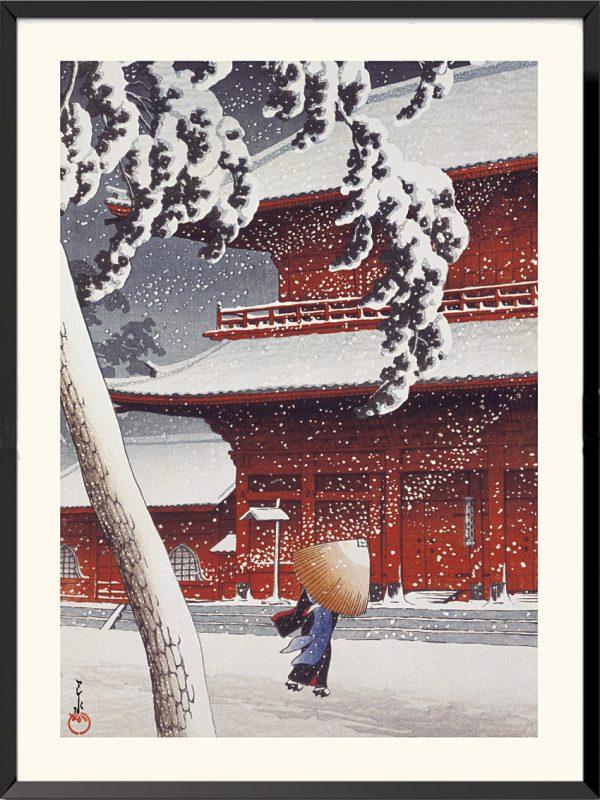 Estampe Le Temple Zojoji à Shiba de Kawase Hasui