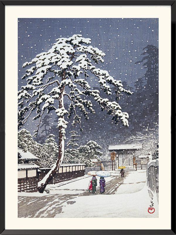 Estampe Le Temple du Honmonji à Ikegami de Kawase Hasui