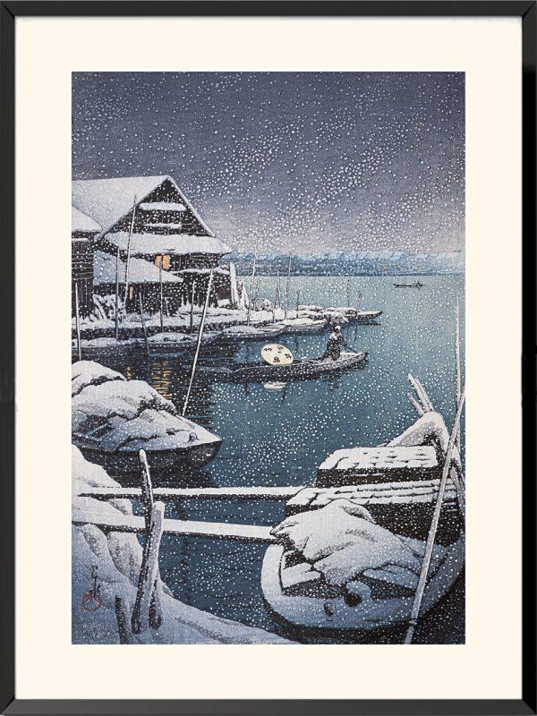 Neige à Mukojima de Kawase Hasui