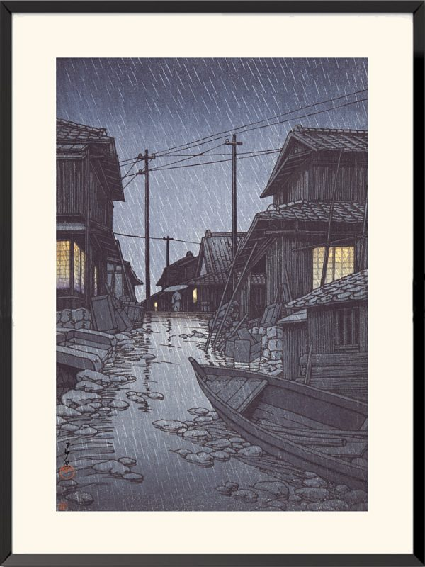 Estampe Pluie du soir à Kawarago de Kawase Hasui