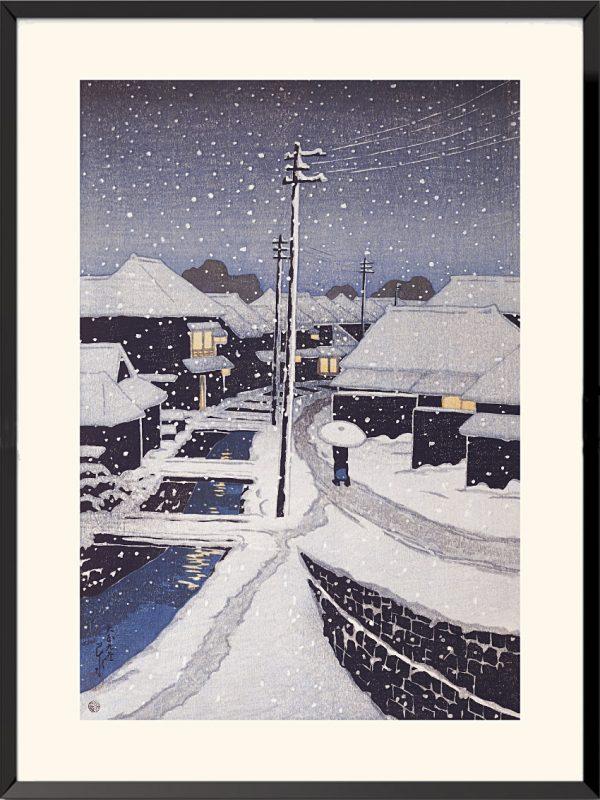 Soir de neige au village de Terajima de Kawaze Hasui