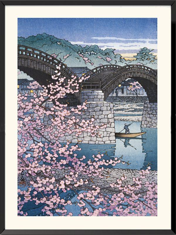 Estampe Soir de printemps au pont Kintai de Kawase Hasui