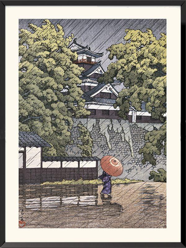 Espampe Tourelle d'Udo au château de Kumamoto de Kawase Hasui