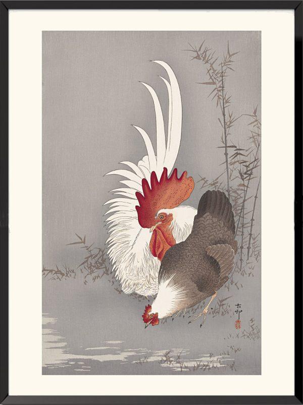 Estampe Coq et poule domestiques de Ohara Koson