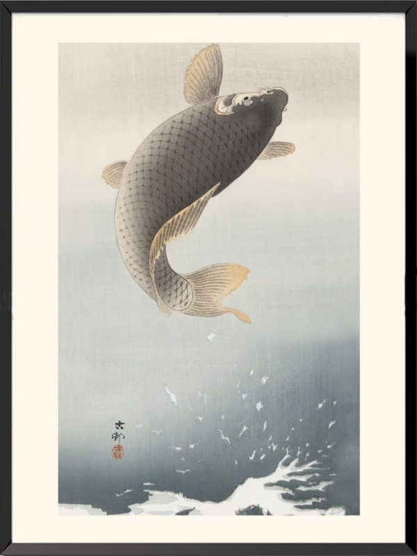 Estampe Carpe sautant de Ohara Koson