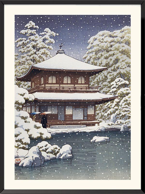 Estampe Neige sur le Pavillon d'argent de Kawase Hasui