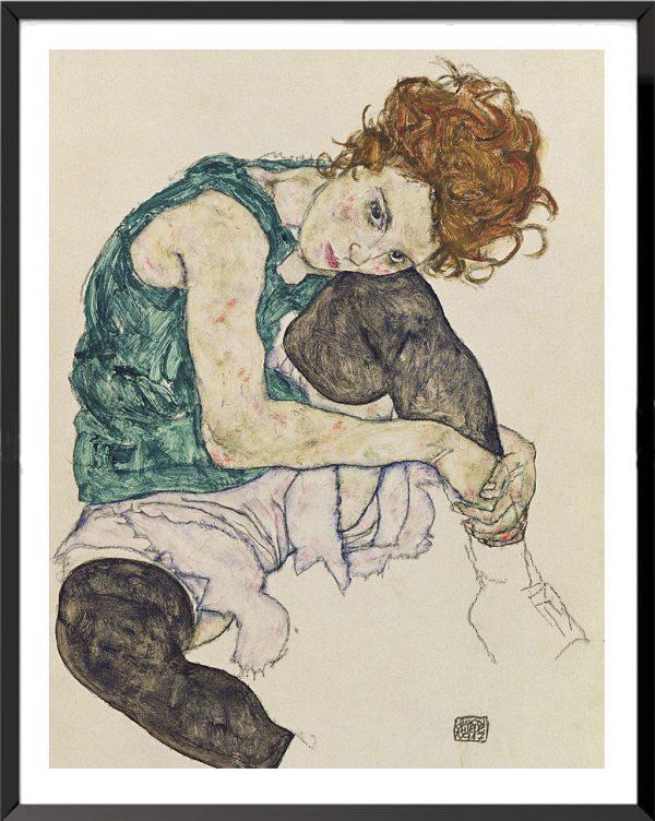 Illustration Femme assise avec les genoux relevés de Egon Schiele