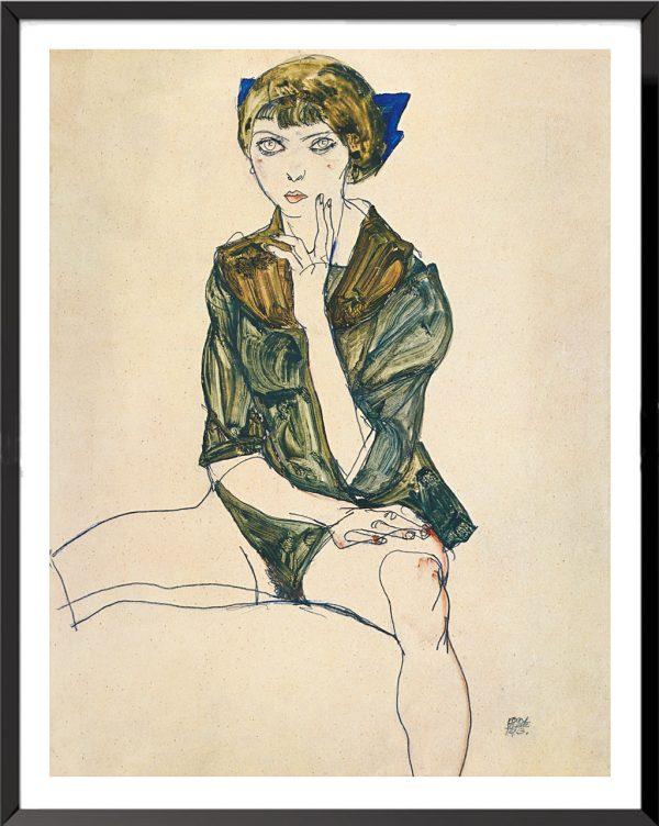 Illustration Femme assise dans un chemisier vert de Egon Schiele