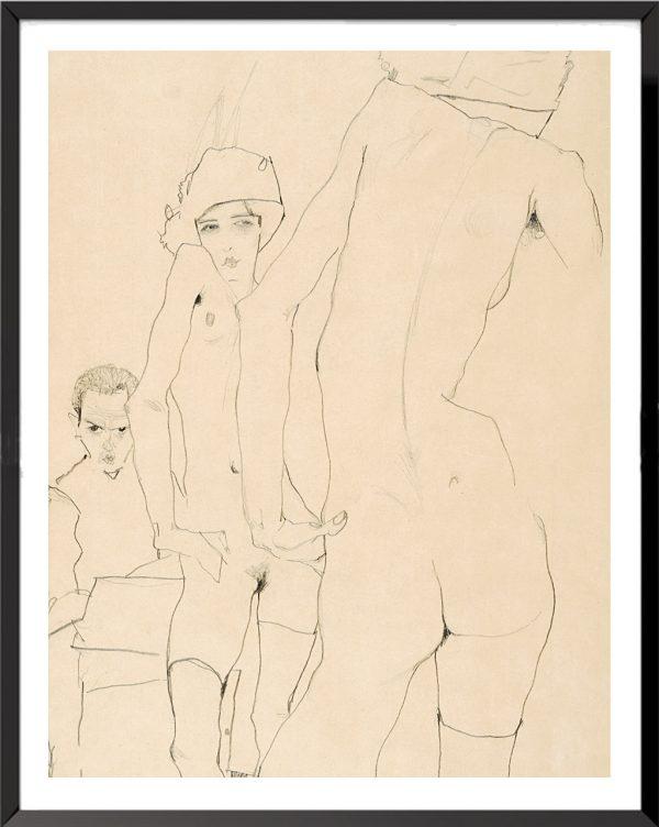 Illustration Schiele avec un modèle nu devant un miroir de Egon Schiele
