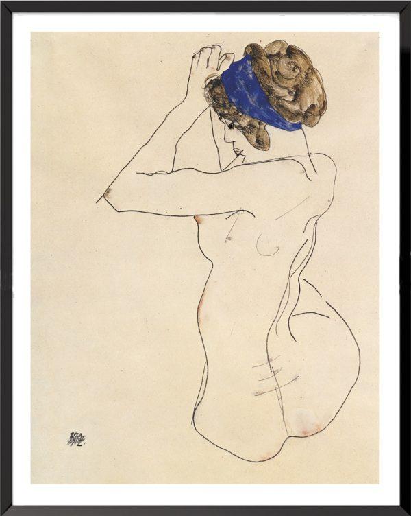 Illustration Femme au turban bleu de Egon Schiele