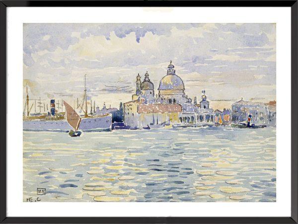 Illustration Venise et le canal avec des bateaux et au fond La Salute d'Henri-Edmond Cross