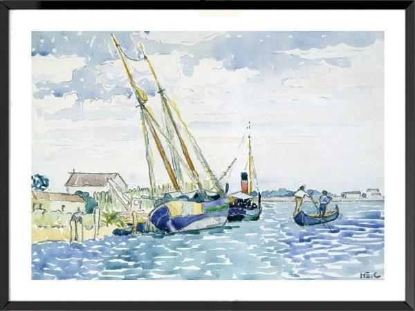 Illustration Bateaux près de Venise d'Henri-Edmond Cross