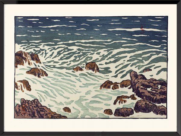 Illustration La mer, étude de vagues d'Henri Rivière