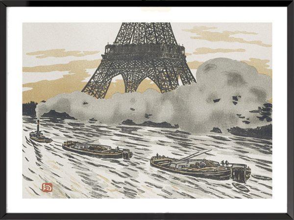 Illustration La Tour Eiffel, frontispice – Péniches, d'Henri Rivière