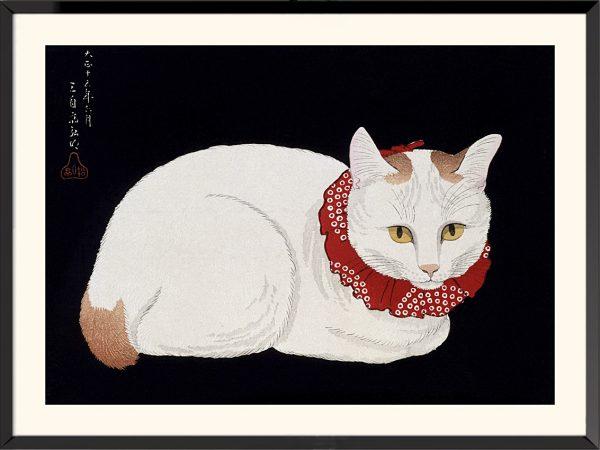 Illustration Le chat blanc, 1926 de Hiroaki Takahashi (Shotei)