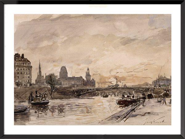 Illustration Vue des quais de la Seine à Paris de Johan Barthold Jongkind