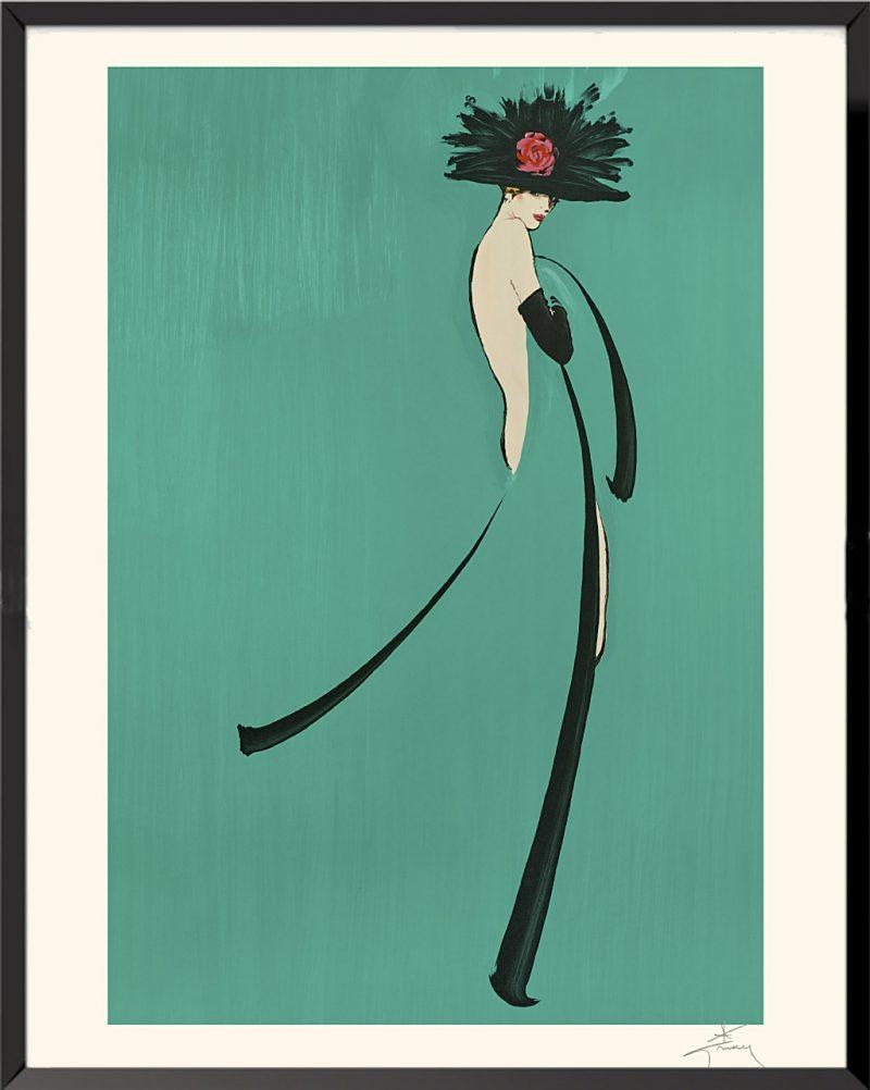 Illustration Élégante sur fond vert de René Gruau