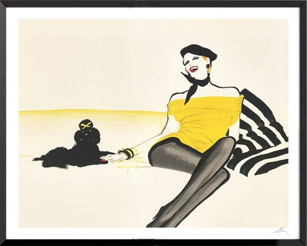 Illustration Femme au caniche de René Gruau