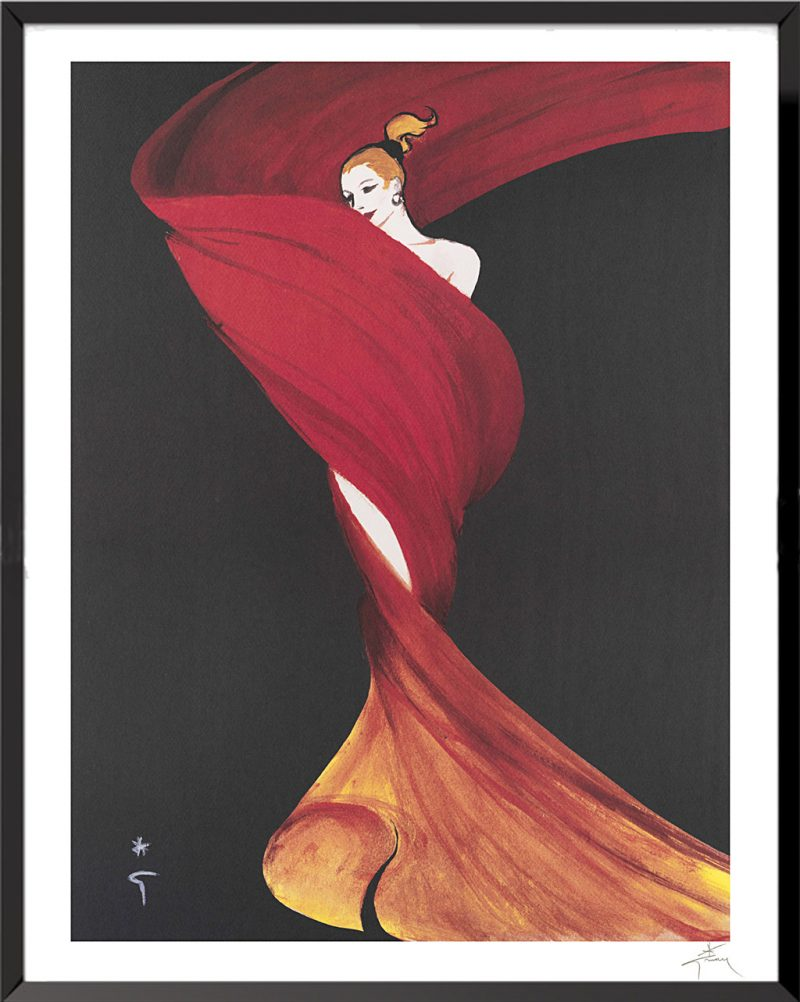 Illustration Femme au foulard de René Gruau