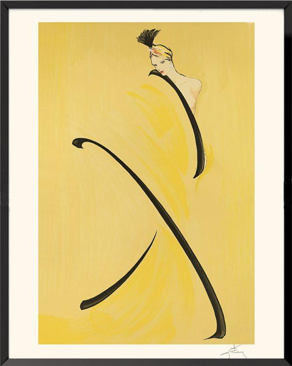 Illustration Femme en jaune de René Gruau