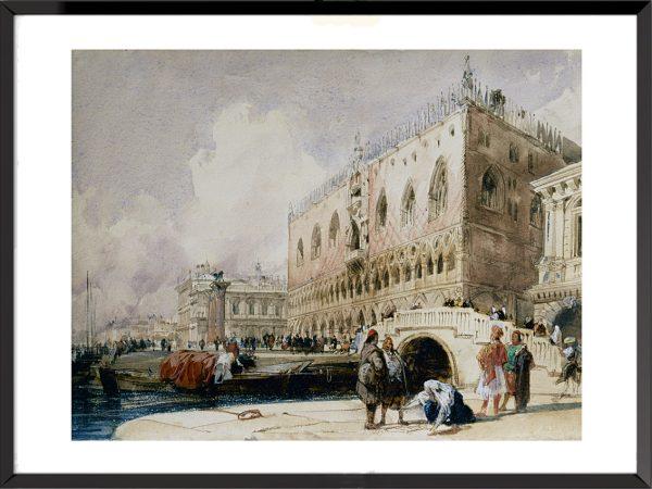 Illustration Venise, le quai des Esclavons et le Palais des Doges de Richard Parkes Bonington