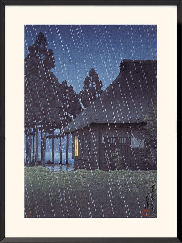 Estampe Japon, Pluie du soir sur une maison de thé au bord du lac, 1935 de Kawase Hasui