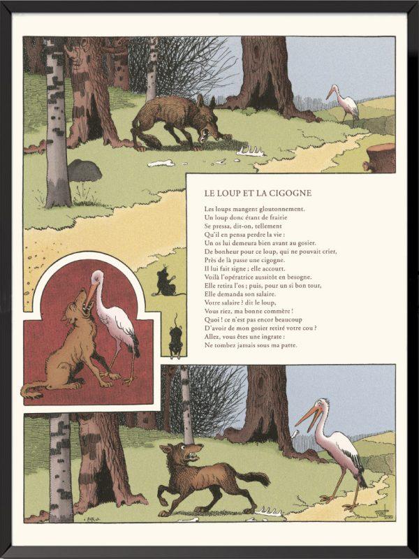 fables lafontaine benjamin rabier le loup et la cigogne