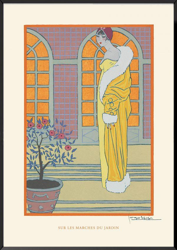 Illustration georges lepape sur les marches du jardin
